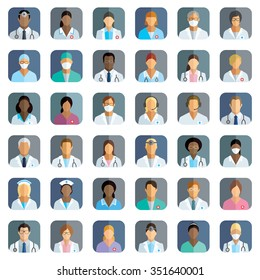 Medical staff - set of icons with doctors, surgeons, nurses and other medical practitioners.
