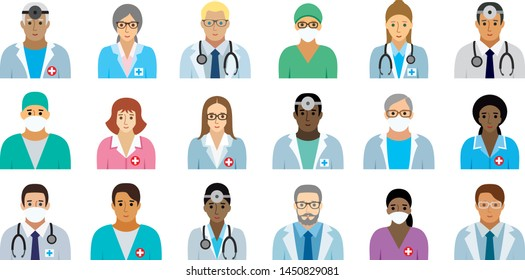 Medical staff - set of icons(option face).