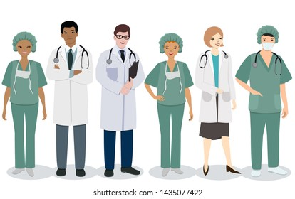Medical staff. A set of men and women medical professions. Vector image isolated on white background.