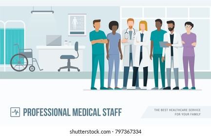 Medical staff standing together in the office at the hospital: doctors, nurses and surgeons