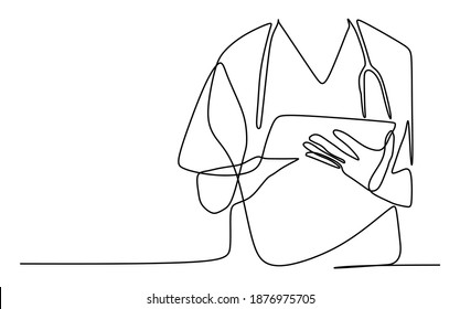 Medical staff taking a note. Continuous one line drawing