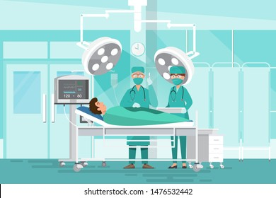 Medical staff team concept in hospital. Surgeon team doctors, nurse and patient  in operating room. cartoon character flat vector illustration