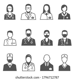 Medical staff in uniform with stethoscope line and bold black silhouette icons set isolated on white. Doctor, physician pictograms collection. Hospital nurse vector elements for infographic, web.
