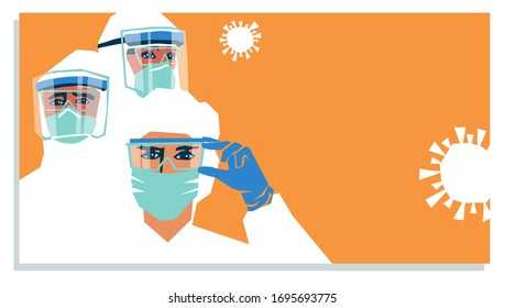 Medical staff wearing PPE, personal protective equipment to care for coronavirus covid-19 patients during pandemic. Poster template design with space for text.