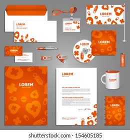 Medical stationery template design with pills and other healthcare elements. Documentation for business.