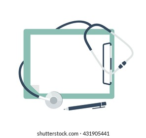 Medical stethoscope with blank paper in clipboard. Medical concept. Vector flat illustration