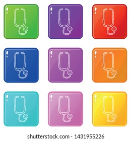 Medical stethoscope icons set 9 color collection isolated on white for any design