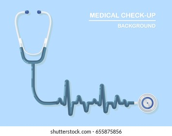 Medical stethoscope isolated on background. Phonendoscope icon. Healthcare, diagnostic tool. Listen to heartbeat. Diagnosis, analysis, research, check up concept. Vector illustration Flat style design