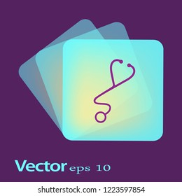 Medical stethoscope or phonendoscope isolated on white. vector illustration in flat style.
