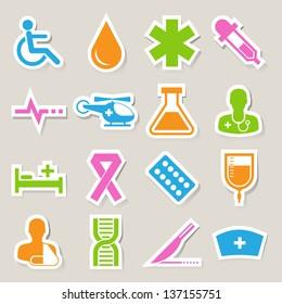 Medical sticker icons set, . Illustration eps 10