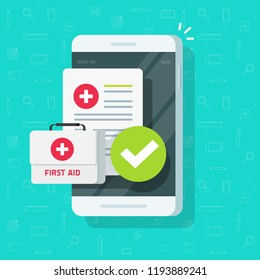 Medical stuff on smartphone vector, flat cartoon mobile phone, insurance document form and medicine prescription, concept of online health care app, internet consultation or telemedicine