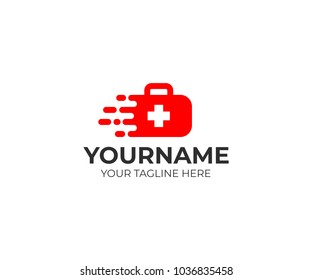 Medical suitcase and fast medical care logo template. Medical first-aid vector design. Ambulance illustration