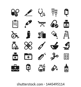 Medical supplies flat vector icon set
