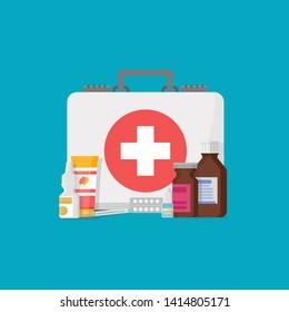 medical supplies,bottles liquids and pills vector cartoon illustration