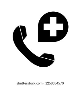 Medical support service line call. Hospital phone call. Emergency and healthy call support service vector icon isolated on white background.