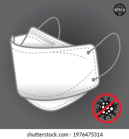 Medical or Surgical Face Mask. Virus Protection. Breathing Respirator Mask. Health Care Concept. Vector Illustration