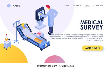 Medical survey vector woman man patient character has medic check up examination by doctor at hospital illustration set of people checked by physicians in clinic healthcare background