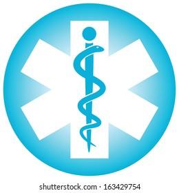 Medical symbol caduceus snake with stick (Vector illustration)