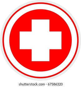 Medical symbol circle with a cross in the center