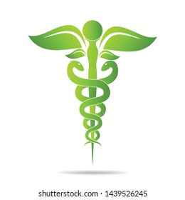 Medical symbol created using snakes and green leaves, Caduceus symbol. Healthy lifestyle is strong heart, vector abstract illustration