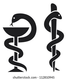 medical symbol (emblem for drugstore, snake and a bowl pharmacy icon)