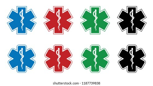 Medical symbol of the Emergency esculaap aesculapius doctor health medical snake drugstor icon vector eps clipart sign sick ill patient Star of Life Helping Plus staff of Asclepius Caduceus Healthcare