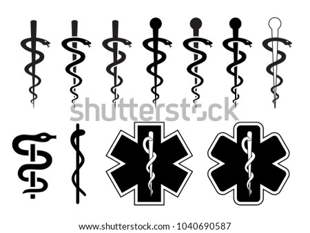 Medical Symbol Emergency Esculaap Aesculapius Doctor Stock Vector