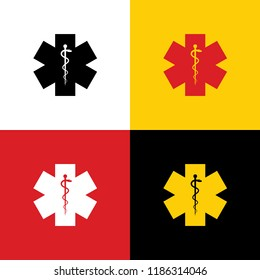 Medical symbol of the Emergency or Star of Life. Vector. Icons of german flag on corresponding colors as background.