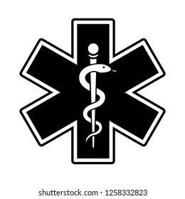 Medical symbol of the Emergency. The Star of Life with the staff of Asclepius.staff with snake black and white vector icon on white background.