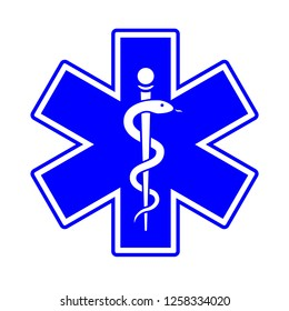 Medical symbol of the Emergency. The Star of Life with the staff of Asclepius.blue vector icon on white background.