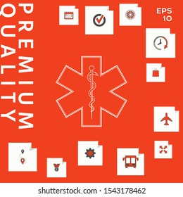 Medical symbol of the Emergency - Star of Life. Graphic elements for your design