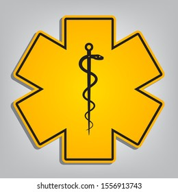 Medical symbol of the Emergency or Star of Life. Flat orange icon with overlapping linear black icon with gray shadow at whitish background. Illustration.