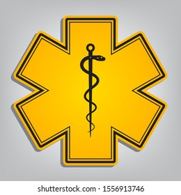 Medical symbol of the Emergency or Star of Life with border. Flat orange icon with overlapping linear black icon with gray shadow at whitish background. Illustration.