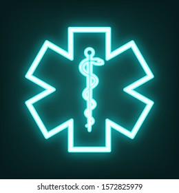 Medical symbol of the Emergency or Star of Life with border. Cyan neon icon in the dark. Bluring. Luminescence. Illustration.