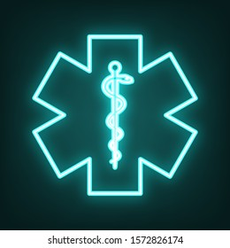Medical symbol of the Emergency or Star of Life. Cyan neon icon in the dark. Bluring. Luminescence. Illustration.