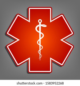 Medical symbol of the Emergency or Star of Life. Flat red icon with linear white icon with gray shadow at grayish background. Illustration.
