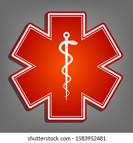 Medical symbol of the Emergency or Star of Life with border. Flat red icon with linear white icon with gray shadow at grayish background. Illustration.