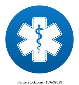 Medical symbol of the Emergency - Star of Life in circle icon isolated on white background. Vector illustration