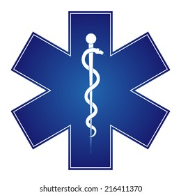 Medical symbol of the Emergency - Star of Life - icon isolated on white background