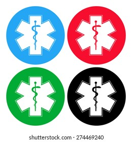 Medical symbol of the Emergency. Star of Life. icon isolated.