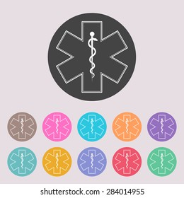 Medical symbol of the Emergency - Star of Life. Set of colored icons.