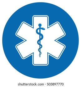 Medical symbol of the Emergency - Star of Life flat icon in circle isolated on white background. EMS, First responder. Vector illustration