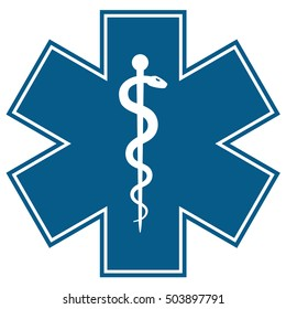 Medical symbol of the Emergency - Star of Life flat icon isolated on white background. EMS, First responder. Vector illustration