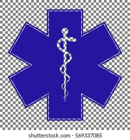 Medical symbol of the Emergency or Star of Life. Blue icon on transparent background.