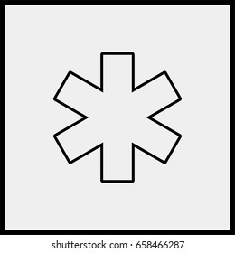Medical symbol of the Emergency - Star of Life. line icon.