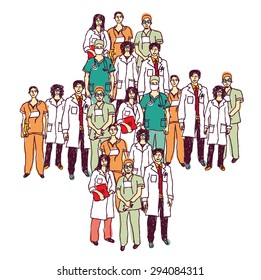 d63e5587eb Medical symbol group doctors isolated color. Group of doctors standing like  a medical symbol.