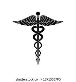 MEDICAL SYMBOL ICON ON WHITE Background wing and snake madical logo type cadeus logo