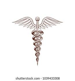 Medical symbol. Isolated on white background. Vector illustration. Pointillism style.