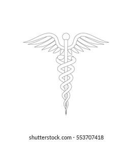 Medical symbol. Isolated on white background. Vector outline illustration.