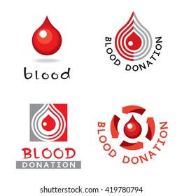 Medical symbol - red drop of blood. Vector symbol, sign, icon.